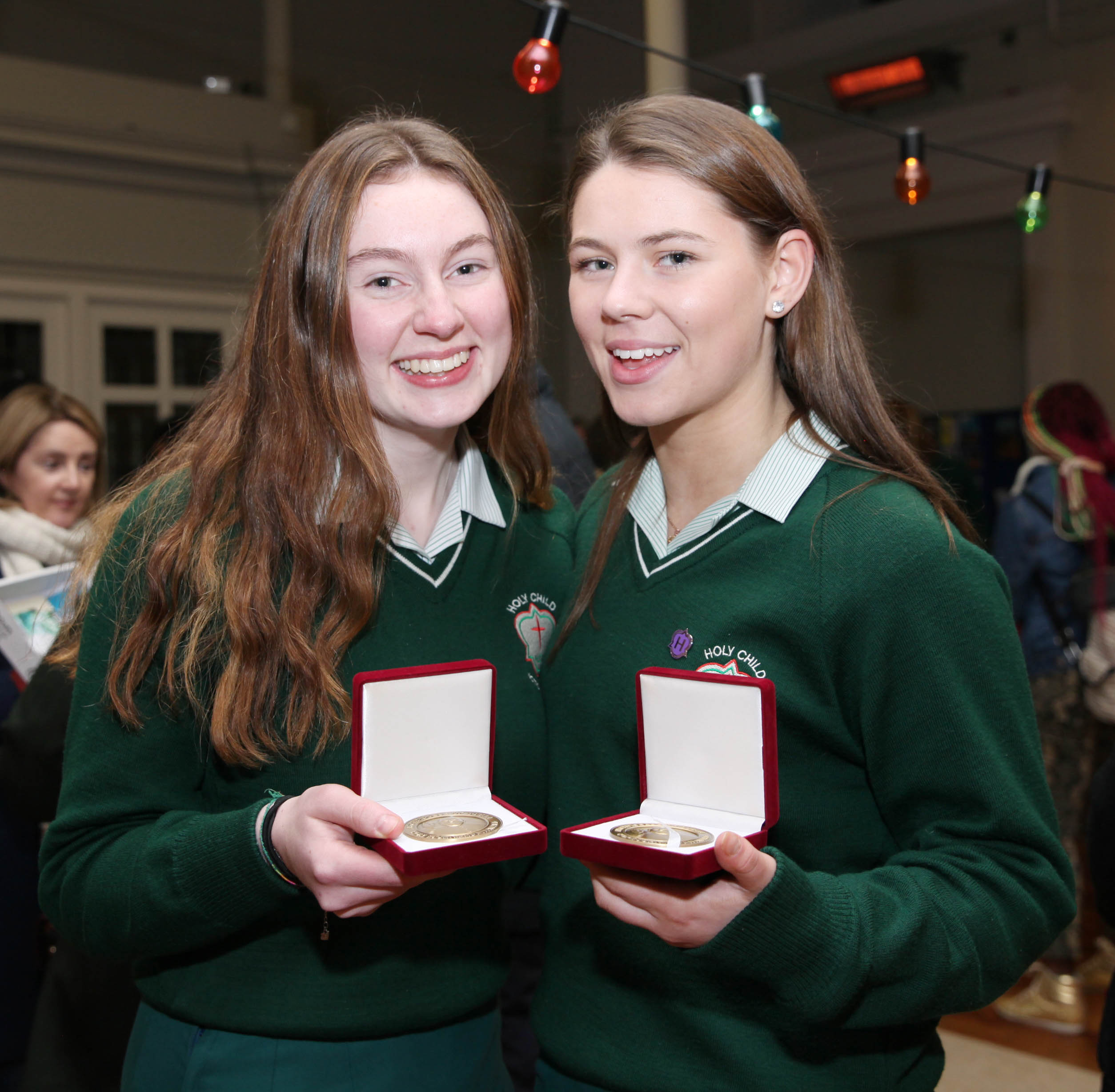 JOHN PAUL 2nd AWARDS. 4.2.2020On Tuesday evening the Archdiocese of Dublin held the annual St John Paul II awards in St Paul's Church Arran Quay in Dublin. The awards are dedicated to the memory of St. John Paul II who showed a great love and confidence in young people. Christian leadership and service in the community are at the heart of what the awards are about. Pic shows award winners Anna Sheridan and Kaci Rock from Holy Child school Killiney on Tuesday evening in St Paul's Church Arran Quay in Dublin. Pic John Mc Elroy. NO REPRO FEE.
