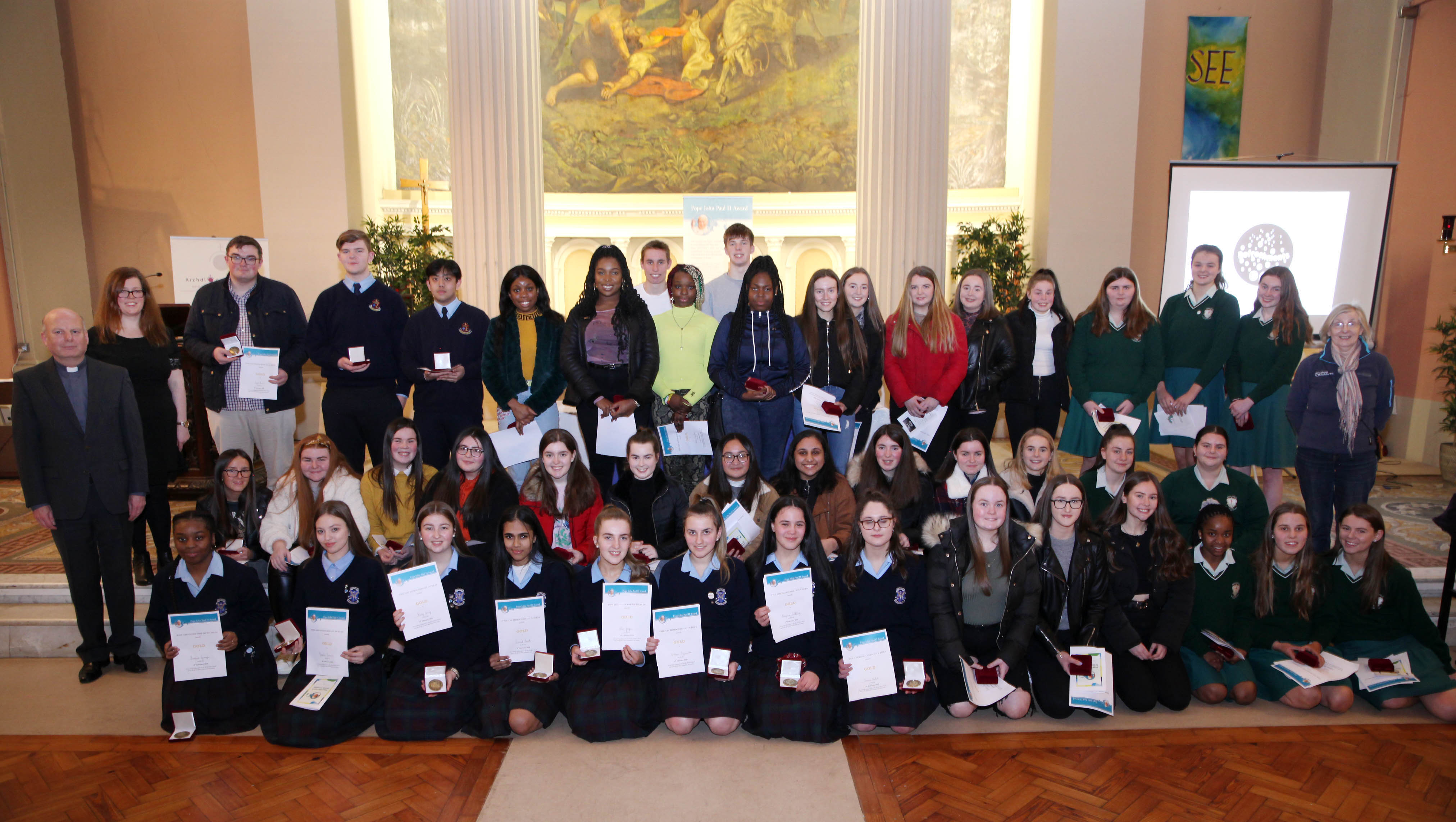 JOHN PAUL 2nd AWARDS. 4.2.2020On Tuesday evening the Archdiocese of Dublin held the annual St John Paul II awards in St Paul's Church Arran Quay in Dublin. The awards are dedicated to the memory of St. John Paul II who showed a great love and confidence in young people. Christian leadership and service in the community are at the heart of what the awards are about. Pic shows the award winners on Tuesday evening in St Paul's Church Arran Quay in Dublin. Pic John Mc Elroy. NO REPRO FEE.